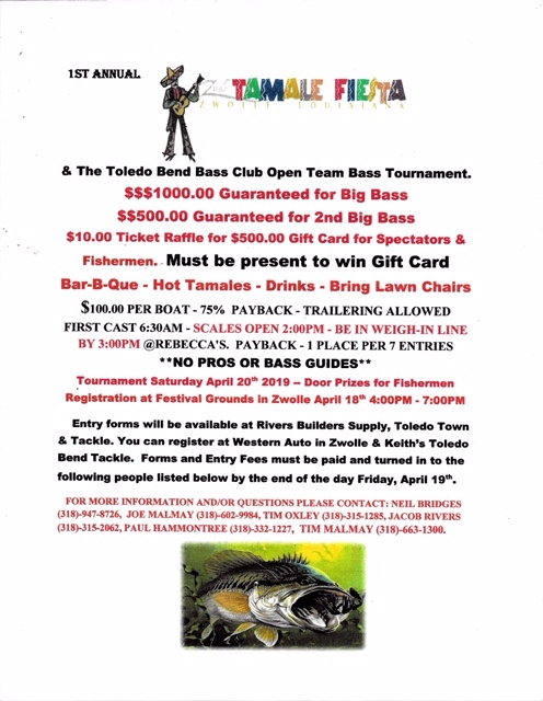 Zwolle Tamale & The Toledo Bend Bass Club Open Fishing Tournament