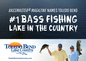 Bassmaster Magazine names Toledo Bend #1 Bass Fishing Lake in the Country